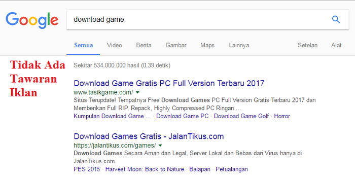 tidak ada tawaran iklan google