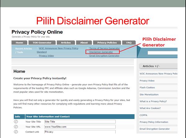 cara membuat halaman disclaimer blog