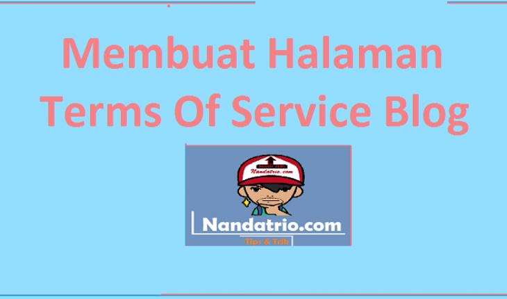 Membuat Terms Of Service (TOS) Blog