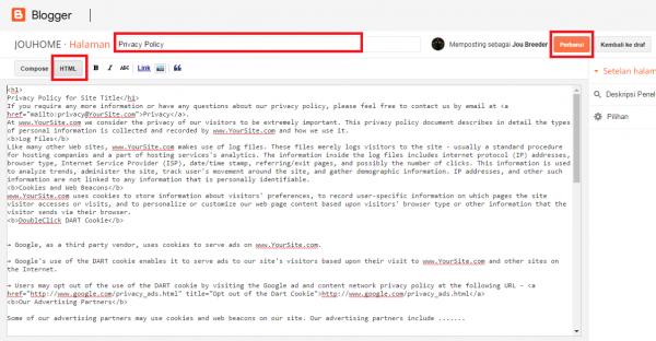 memasang halaman privasi ke blog