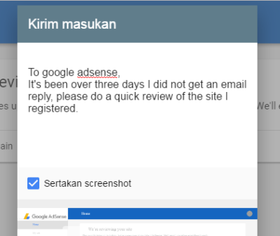 mengirim feedback google adsense