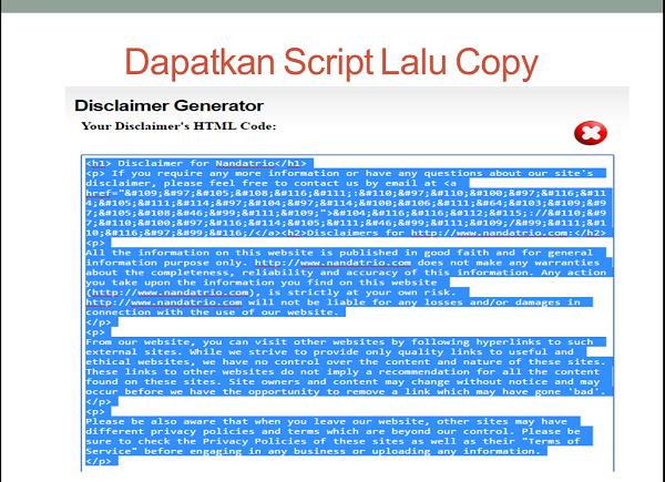 script halaman disclaimer