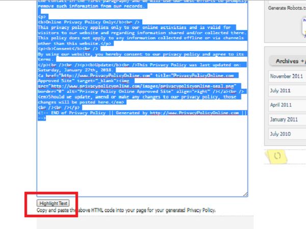 script halaman privasi
