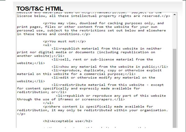 script halaman tos