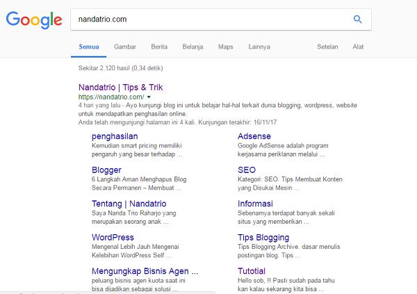 Mendapatkan Sitelink Hasil Pencarian Google Penelusuran