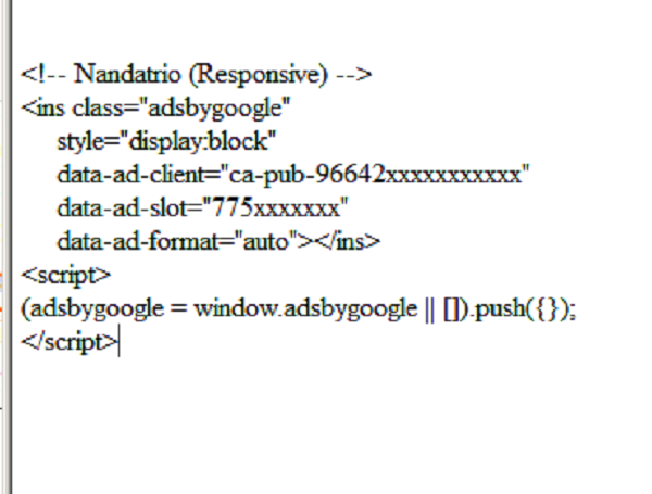contoh kode iklan adsense