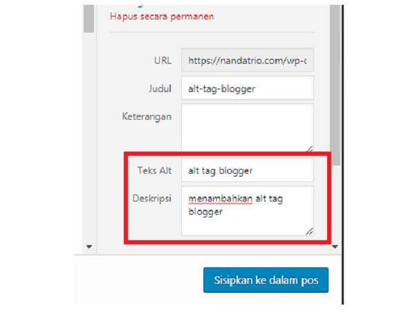 alt tag wordpress